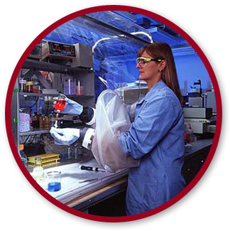 A lab tech using an anaerobic chamber by Coy Laboratory Products